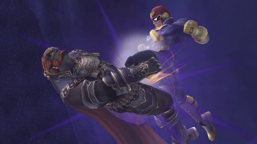 Captain Falcon giving Ganondorf a Justice Knee to the face