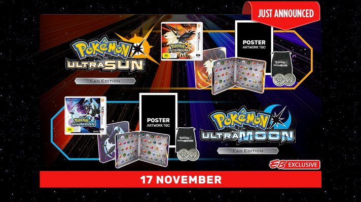 EB Games announces exclusive Fan Editions for Pokémon Ultra Sun and Ultra Moon
