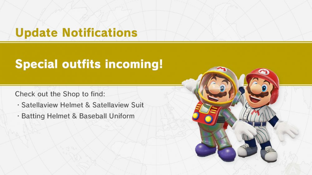 Super Mario Odyssey Adds Satellaview Suit Set And Baseball Uniform Set Costumes