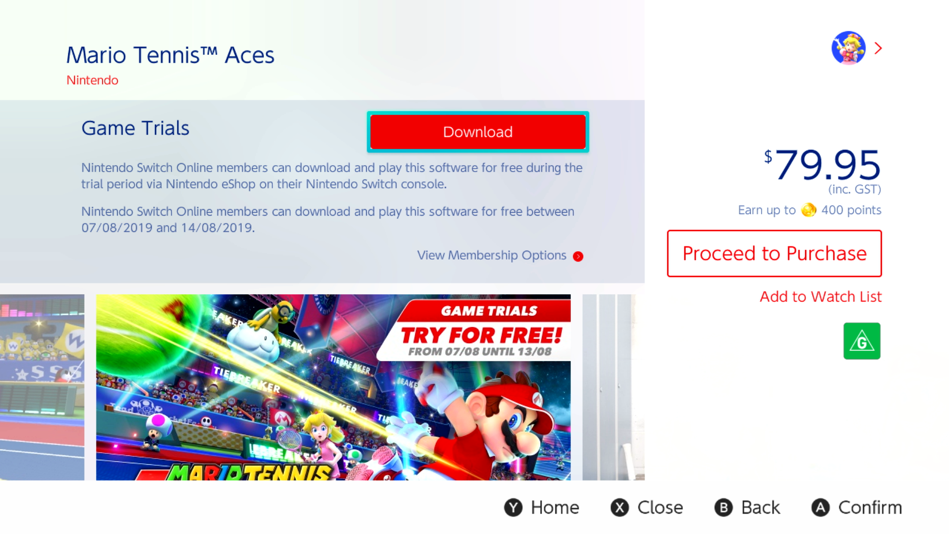 Play Mario Tennis Aces for FREE from 87 to 813